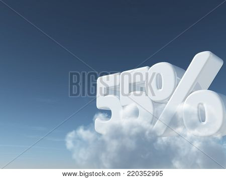 number fifty-five and percent symbol in the sky - 3d rendering