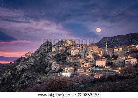 Full Moon Over Balagne Village Of Speloncato In Corsica