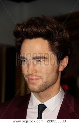 London, - United Kingdom, 08, July 2014. Madame Tussaud's in London.  Waxwork statue of Robert Pattinson.