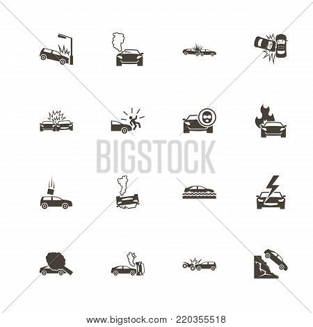 Car Crashes icons. Perfect black pictogram on white background. Flat simple vector icon.