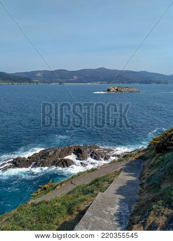 Galician coast cliffs. In the town of Ortigueira, place called Fuciño do Porco