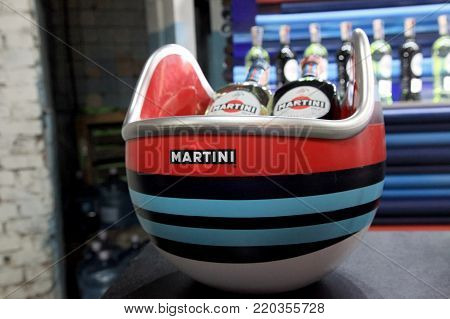 KIEV, UKRAINE - November 4, 2017: Martini bottles in bar, Kiev, Ukraine. Martini is a famous Italian vermouth alcoholic brand produced in Turin by Martini and Rossi since 1863