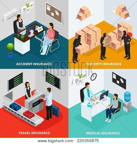 Isometric insurance case concept with health protection property safety accident and travel assurance vector illustration poster
