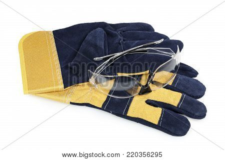 protective gloves amd goggles isolated on white