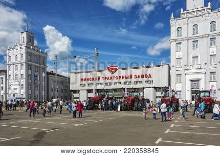 Belarus, Minsk - 27.05.2017: Exhibition of tractors on the site near the Minsk tractor plant