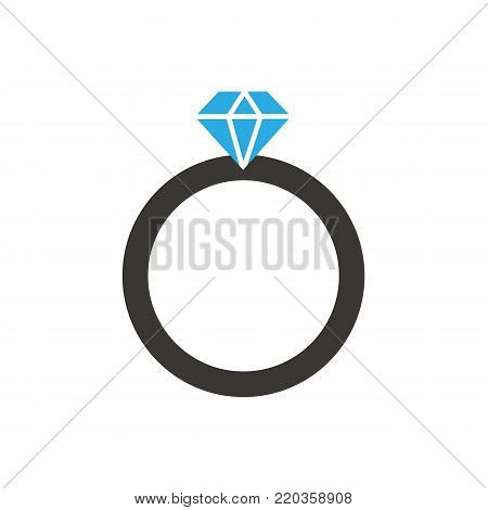 Diamond ring icon. Ring isolated on white background. Wedding concept. Vector stock.