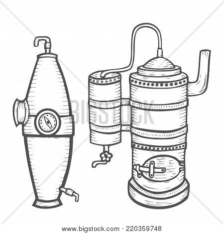Set of Distillation apparatus sketch. Hooch vector. retro vintage hand drawn illustration