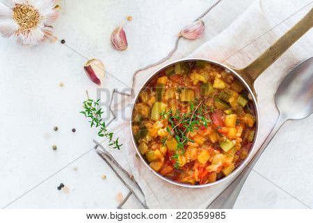 Stew Organic Vegetables Ragout French Ratatouille In Frying Pan