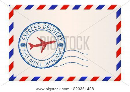 International envelope with red and blue border. With Express delivery stamp. Vector illustration isolated on white background