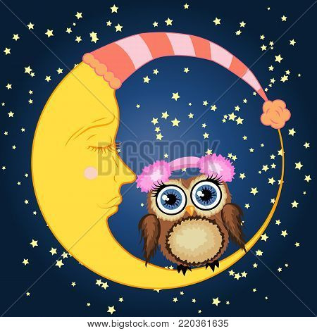 A sweet cartoon brown owl in soft headphones sits on a drowsy crescent moon against a background of a night sky with stars