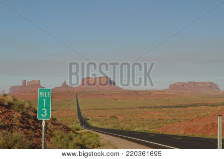 Forrest Point. Mille 13 Highway Going To Monument Valley. The Paradise of Geology.  Utah.  USA.