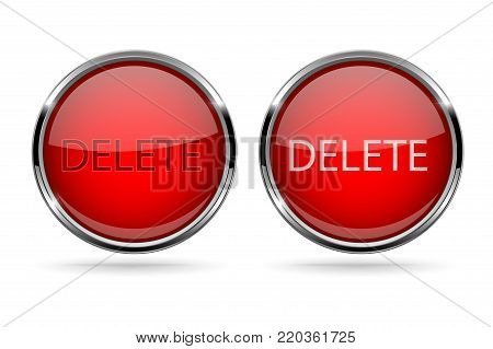 Red DELETE glass buttons with chrome frame. Vector 3d illustration isolated on white background