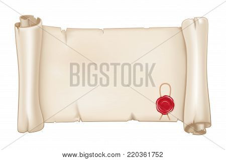 Parchment scroll with red wax seal. Vector 3d illustration isolated on white background
