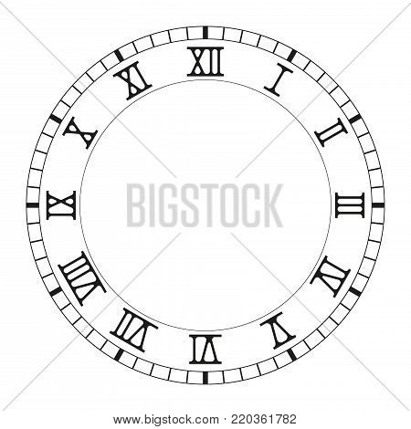 Clock face. Black blank clock with roman numerals. Vector illustration isolated on white background