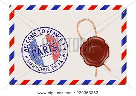 Welcome to France. Colored tourist stamp PARIS with national flag. Wax sealed envelope. Vector 3d illustration isolated on white background