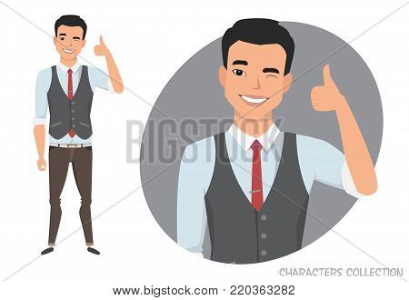 Positive asian guy smiling and recommended. Happy man in casual cloth. Laughing man showing thumbs up.