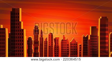City landscape, skyscrapers view, horizontal skyline vector illustration