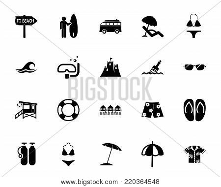 Beach icon set. Summer resort, seaside, vacations. Beach resort concept. Can be used for topics like leisure, recreation, summer