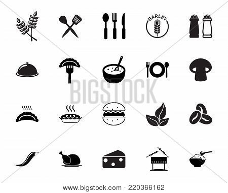 Food icon set. Cooking, eating, menu, Meal concept. Can be used for topics like food service, gastronomy, nutrition