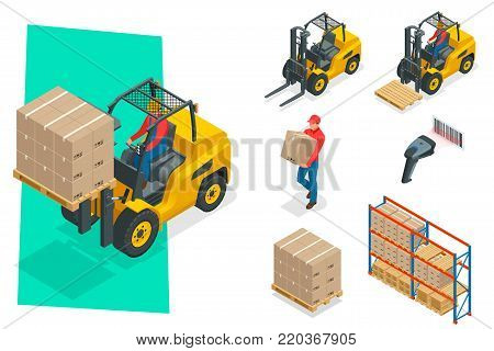 Isometric vector forklift truck isolated on white. Storage equipment icon set. Forklifts in various combinations, barcode, storage racks, pallets with goods for infographics