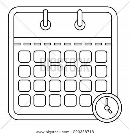 Deadline calendar icon. Outline illustration of deadline calendar vector icon for web