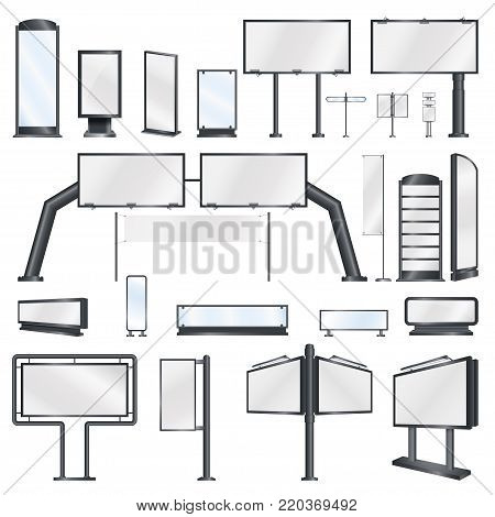 Set billboards and banners. Mockups for your advertisement blank big billboards. vector illustration