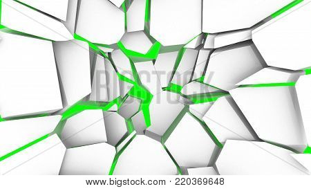 Abstract background with the destruction of the wall. Green screen. 3d rendering