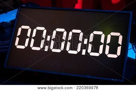 Digital led screen with countdown, all zeros