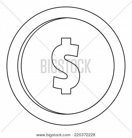 One dollar icon. Outline illustration of one dollar vector icon for web