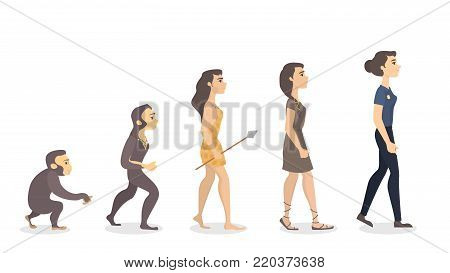 Evolution of woman. From monkey to police officer.