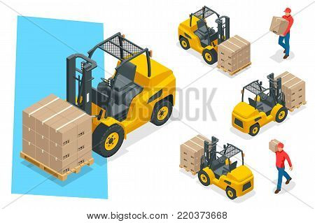 Isometric vector forklift truck isolated on white. Storage equipment icon set. Forklifts in various combinations, storage racks, pallets with goods for infographics