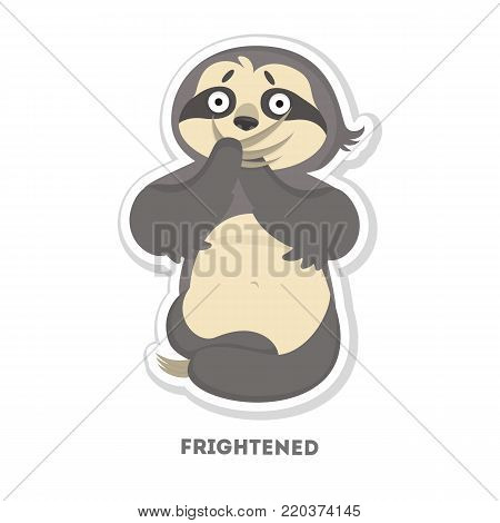 Frightened sloth sticker. Isolated funny cartoon character.
