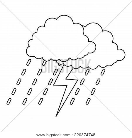 Thunderstorm icon. Outline illustration of thunderstorm vector icon for web