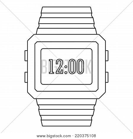 Digital watch icon. Outline illustration of digital watch vector icon for web