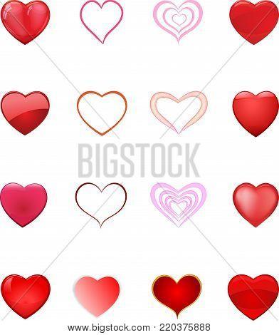 Set of love symbols on white background, vector illustration. Vector hearts set.