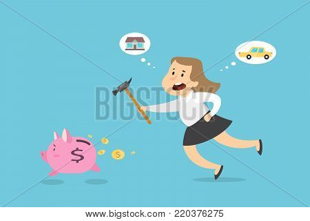 Businesswoman with hammer trying to catch running away piggy bank.