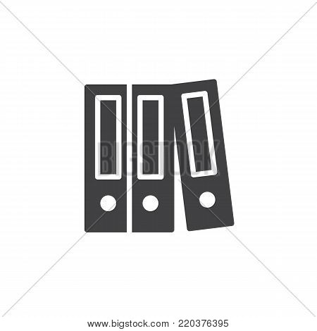 Cabinets data storage icon vector, filled flat sign, solid pictogram isolated on white. Ring binder, office file folder symbol, logo illustration.