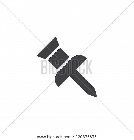 Pushpin icon vector, filled flat sign, solid pictogram isolated on white. drawing pin symbol, logo illustration.