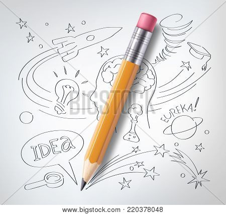Vector realistic pencil on paper with sketch creative education, science hand drawn doodles symbols. Concept of idea, eureca, study, research and development. White background illustration
