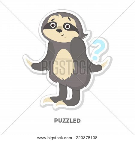 Puzzled sloth sticker. Isolated funny cartoon character.