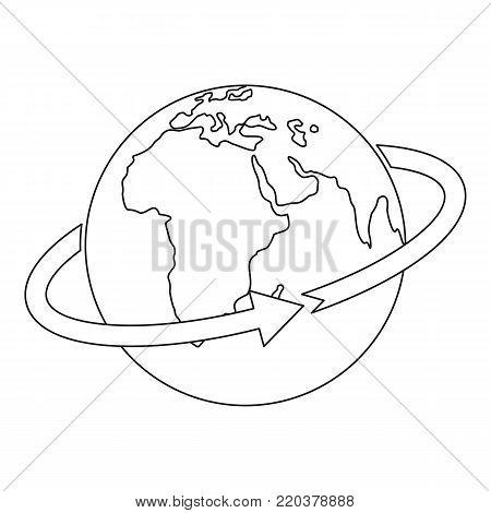 Flight around world icon. Outline illustration of flight around world vector icon for web