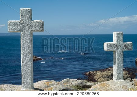 Death Coast with cross of dead fishermen in Galicia