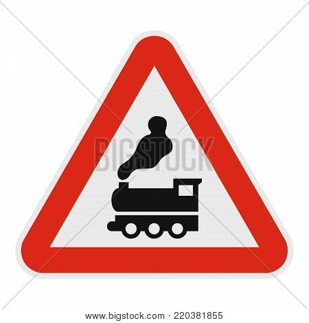 Railway crossing without barrier icon. Flat illustration of railway crossing without barrier vector icon for web.