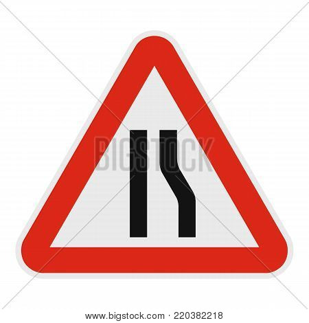 Narrowing right road icon. Flat illustration of narrowing right road vector icon for web.