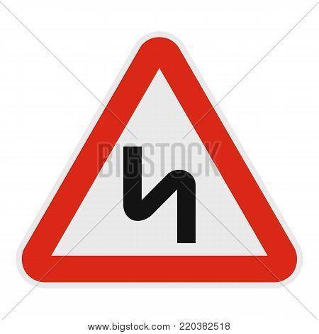 Dangerous turn right icon. Flat illustration of dangerous turn right vector icon for web.