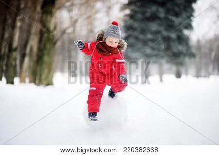 Little boy in red winter clothes having fun with snowball. Active outdoors leisure with children in winter. Kid during stroll in a snowy winter park poster