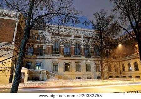 Kazan, Tatarstan, Russia - January 2, 2018. Kazan Art School named after the artist Nikolai Feshin. Building Architect Karl Müffke. View of the building along Tolstoy Street.