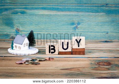 miniature model of house and wooden letter text: buy.