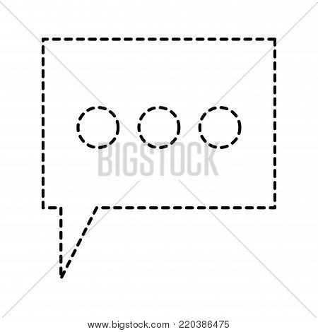 dialogue box with tail and three suspension points in monochrome dotted silhouette vector illustration
