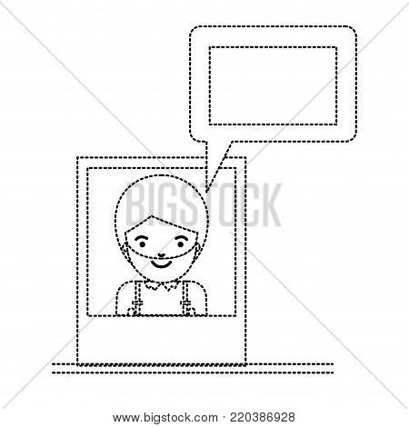 man social network picture profile dialogue comments in monochrome dotted silhouette vector illustration